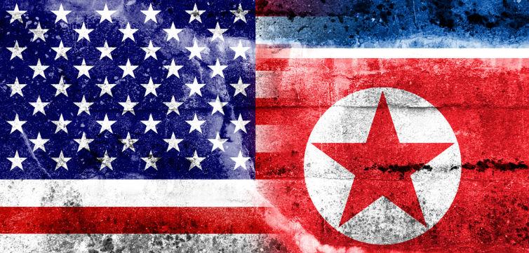 NorthKoreaUnitedStatesFlags-feat