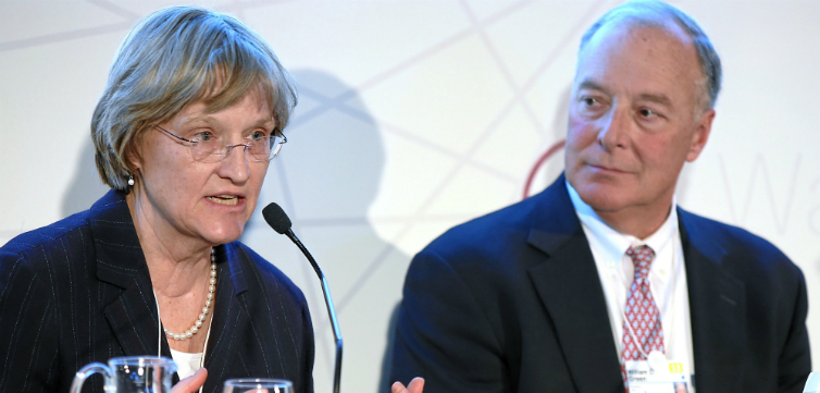 World Economic Forum from Cologny, Switzerland, The Future of Higher Education Drew Gilpin Faust, William D. Green (8410821795), size by FIRE, CC BY-SA 2.0