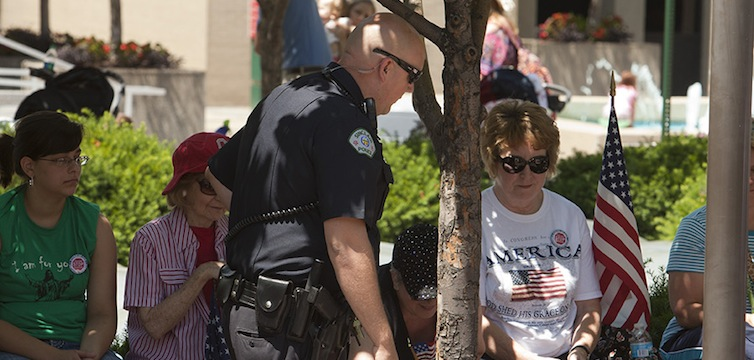 Sinclair Community College rally police officer