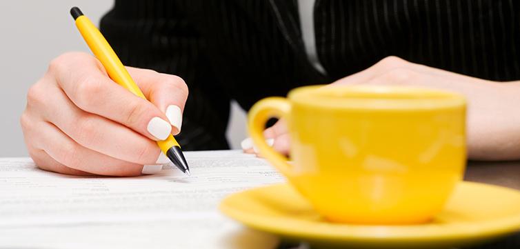 writing yellow coffee-feat