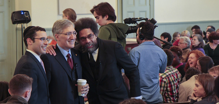 Dr. Cornel West and Robert George greet audience members before taking their places to speak. Photo by Martin Froger-Silva '16, Swarthmore College