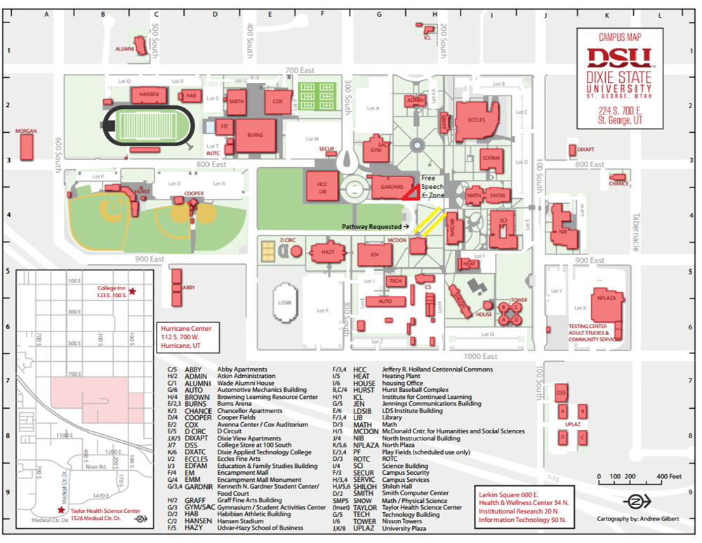 Dixie-State-University-Map-with-Free-Speech-Zone