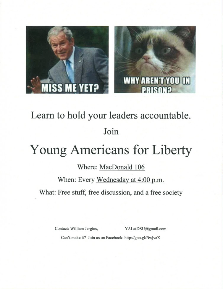 Flyer criticizing former President George W. Bush