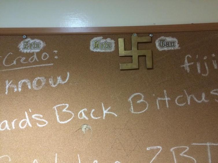 Photograph of Swastika on ZBT Bulletin Board