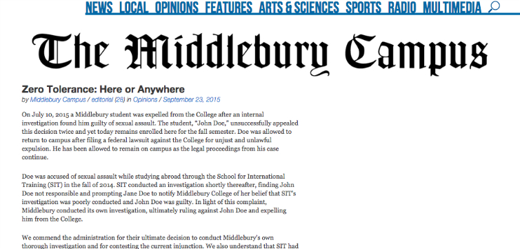 middlebury campus zero tolerance