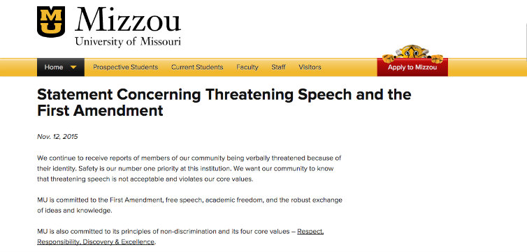 mizzou free speech statement missouri feat