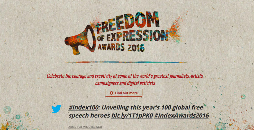FIRE Nominated for Index on Censorship Freedom of Expression Award