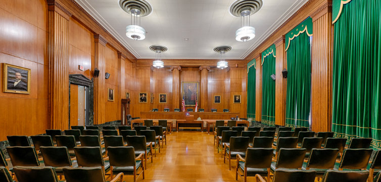 Supreme Court chamber in Supreme court building Raleigh, North Carolina feat CREDIT Nagel Photography Shutterstock.com