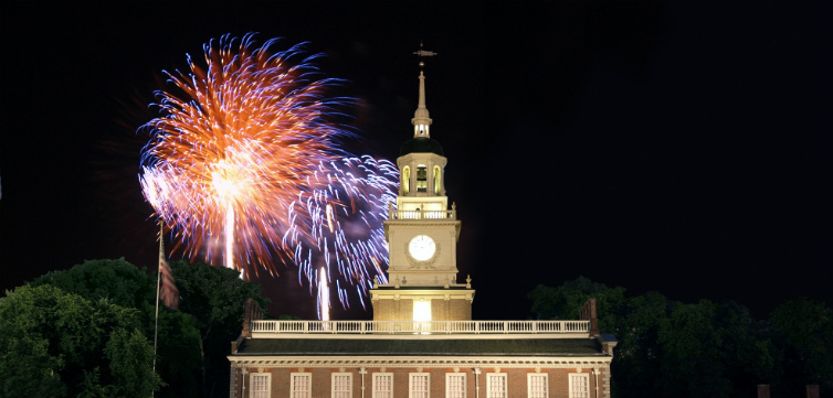 Independence Hall with fireworks