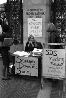 Members of Students for a Democratic Society hold a tabling event at the University of California—Berkeley.