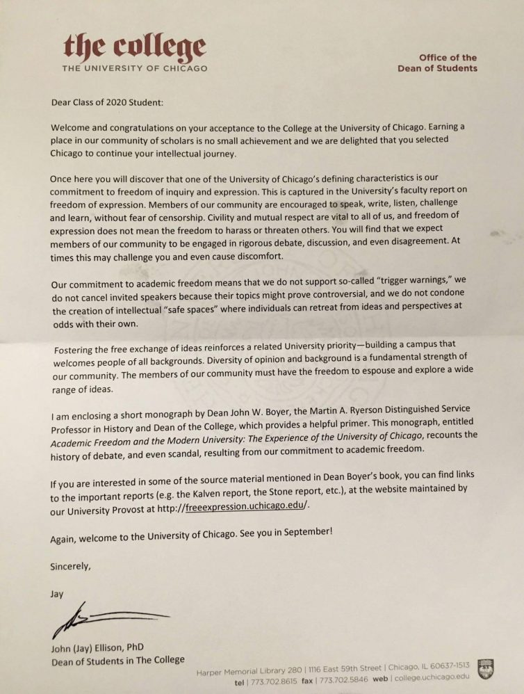 University Of Chicago Letter To Incoming Freshman 2016 Fire