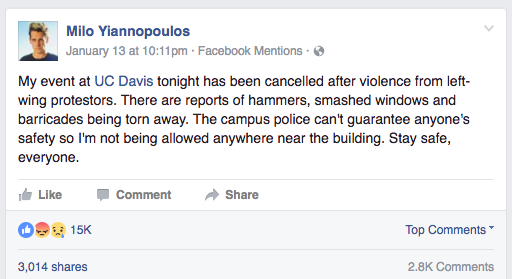 Milo deleted fb post january 13 2017