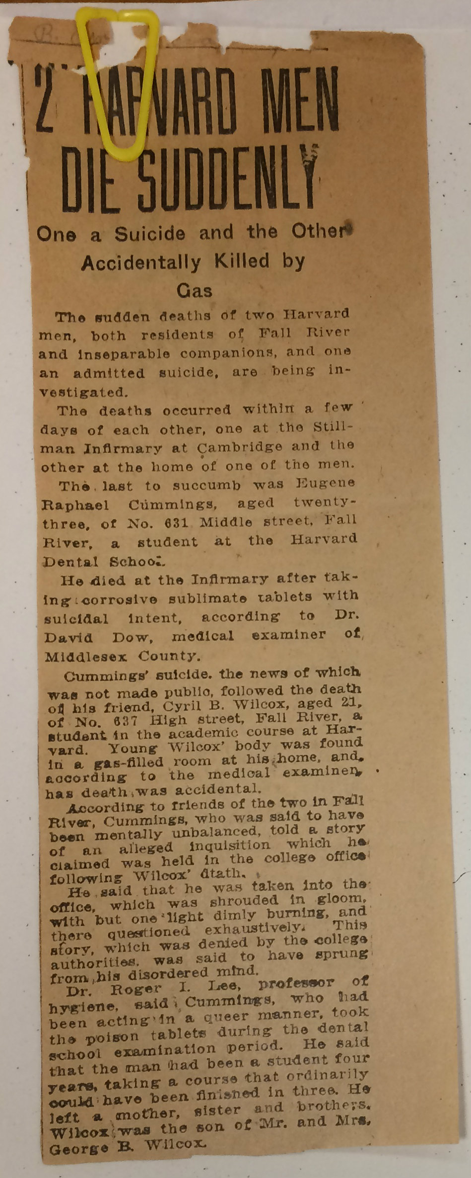 Newspaper clipping reporting Wilcox, Cummings suicides embed Harvard