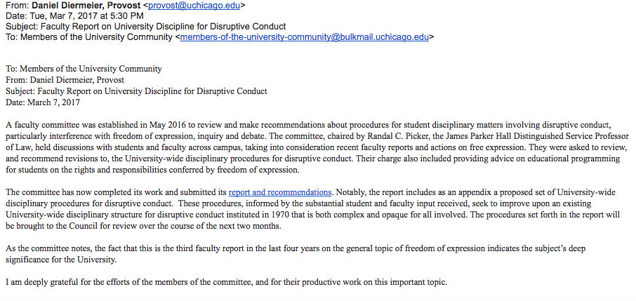 UChicago Provost Daniel Diermeier Email re Disruptive Conduct