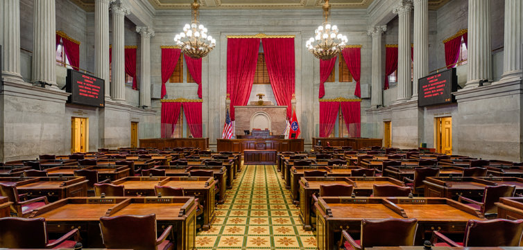 House of Representatives Chamber in the Tennessee State Capitol building on December 1, 2014 in Nashville, Tennessee CREDIT Nagel Photography  Shutterstock.com feat