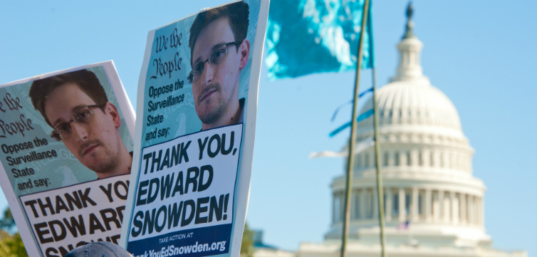 Snowden protest feature