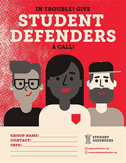 Student Defenders Sample Flyers
