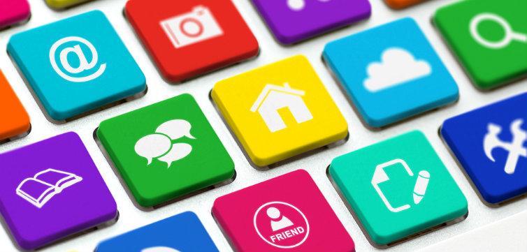 social media keyboard talk buttons feat