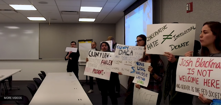 "Stop debating"": CUNY Law students disrupt speaker and his critic"