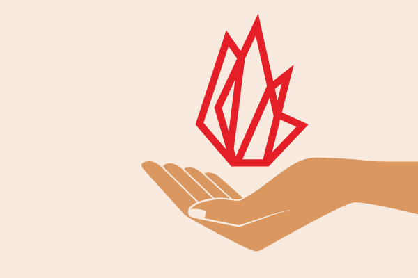 illustration of an open hand and the FIRE logo