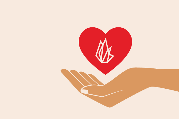 FIRE logo inside of a heart above an open hand