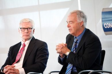 Charles Haynes, the Newseum Institute's Religious Freedom Center director, left, and Ken Paulson, First Amendment Center president (credit: Kate Winkle/SHFWire Intern)