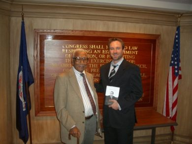 Judge Robert L. Carter & Sam Chaltain of the First Amendment Center (credit: R. Collins)