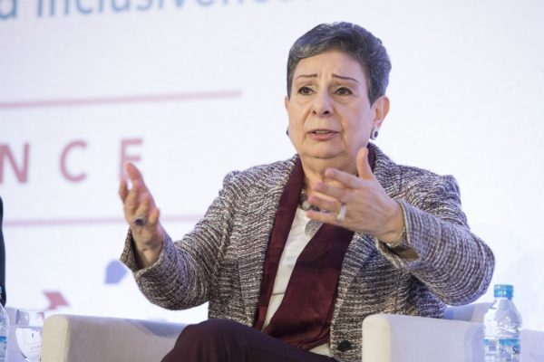 "Hanan Ashrawi speaking at last year's International Monetary Fund conference ""Opportunity for All: Promoting Growth, Jobs, and Inclusiveness in the Arab World."" (IMF/Flickr.com)"
