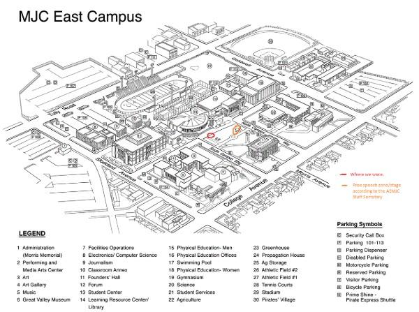 Modesto Junior College Free Speech Zone Map.
