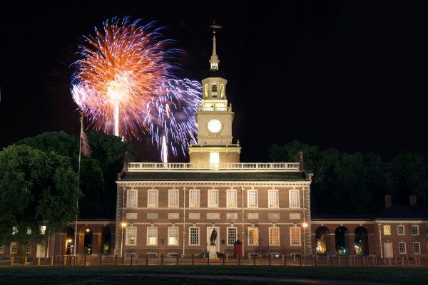 Fireworks over Philadelphia's Independence Hall, near FIRE's headquarters.