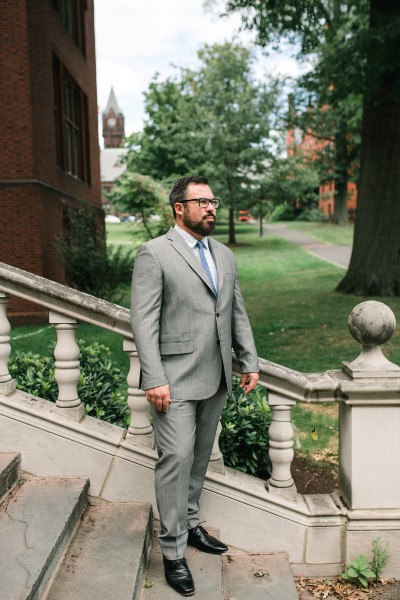 Adam Duker on the campus of Mount Holyoke College in Massachusetts. (Megan Haley for FIRE.)