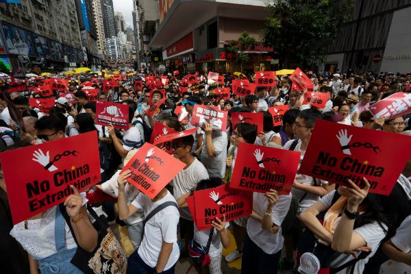 Protestors in Hong Kong marching against a controversial extradition bill.