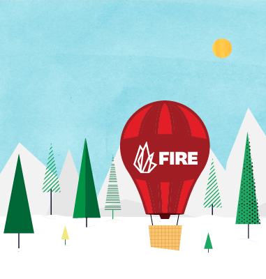 FIRE logo in winter landscape