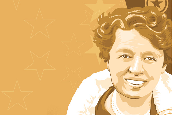 stylized illustration of Eleanor Roosevelt