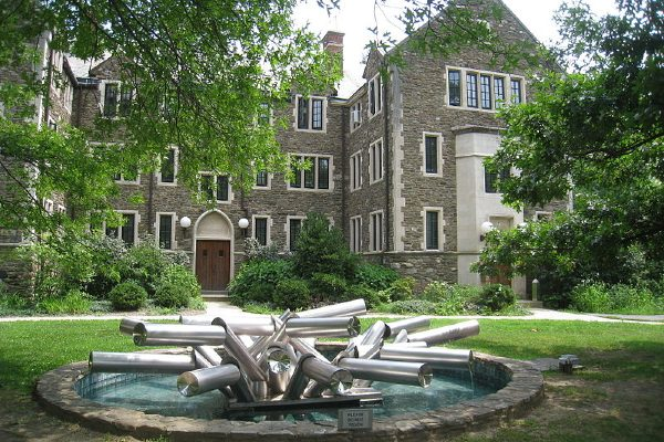 A fountain and building on Bard College's campus