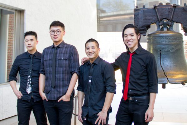 The Slants in front of the Liberty Bell