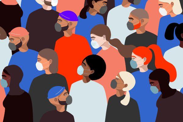 depiction of people in medical masks.