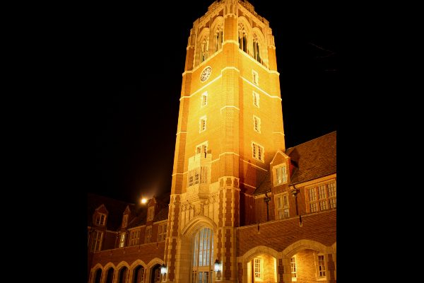 The tower of the administration building at John Carroll University.