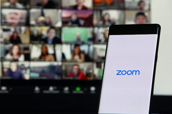 A Zoom call happening on a laptop