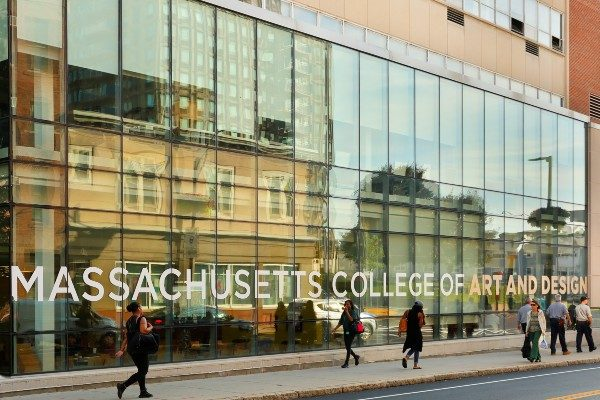 Exterior of Massachusetts College of Art and Design building in Boston.