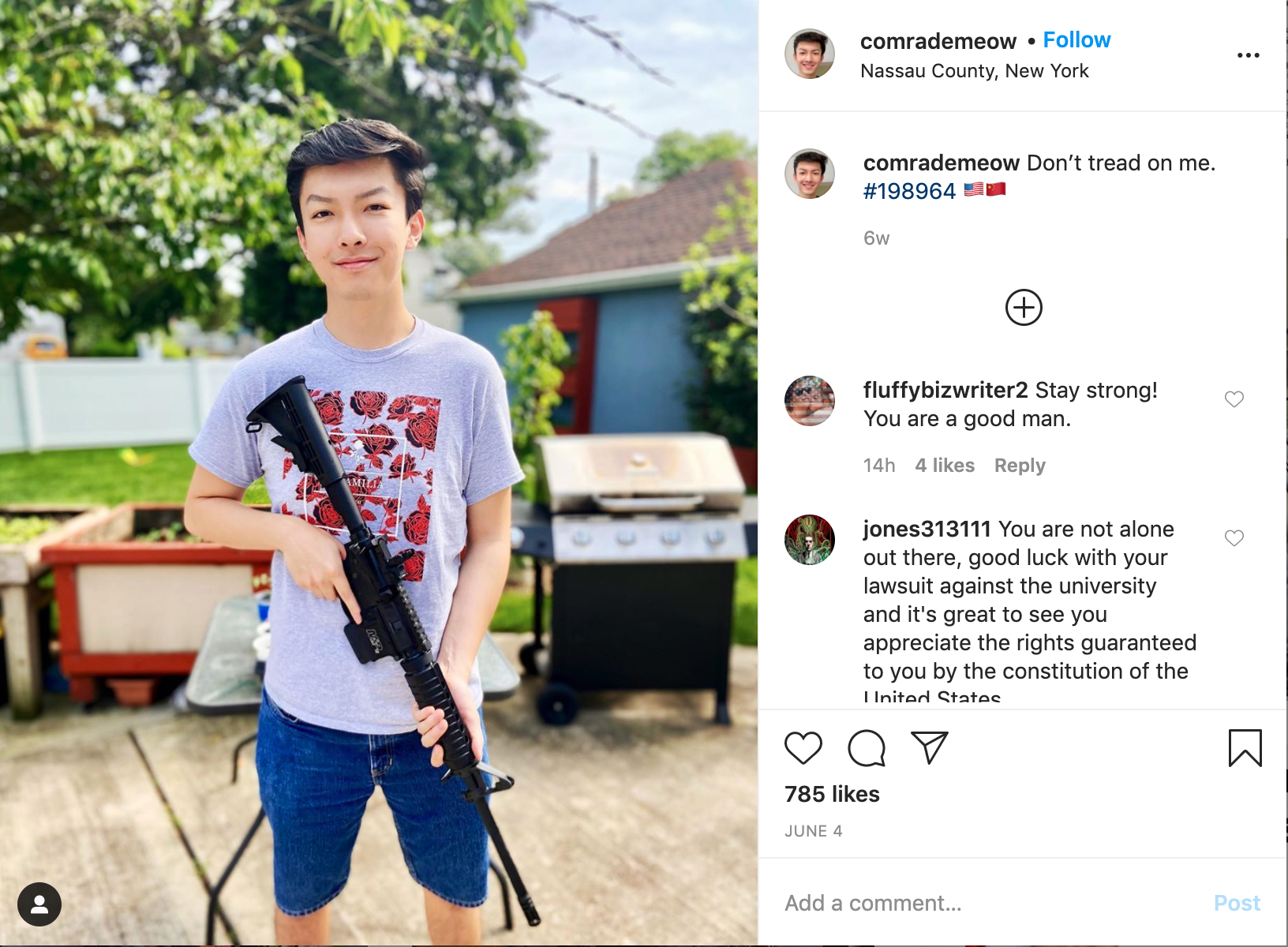 Fordham student Austin Tong posing with a rifle.