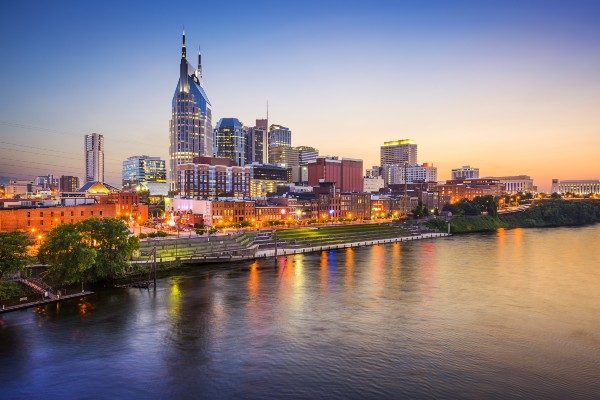 Nashville's skyline on the Cumberland River.