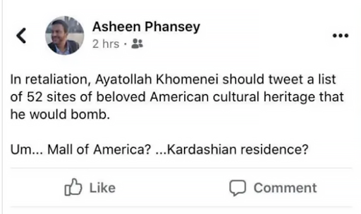 Asheen Phansey facebook post