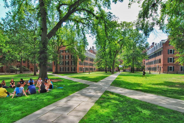 Students sit on a college campus outdoor lawn