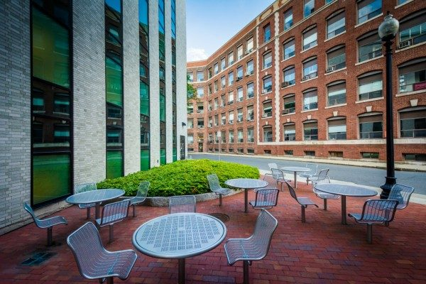 Empty chairs at Northeastern University in Boston