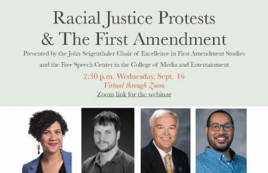 Racial Justice and First Amendment panel flyer
