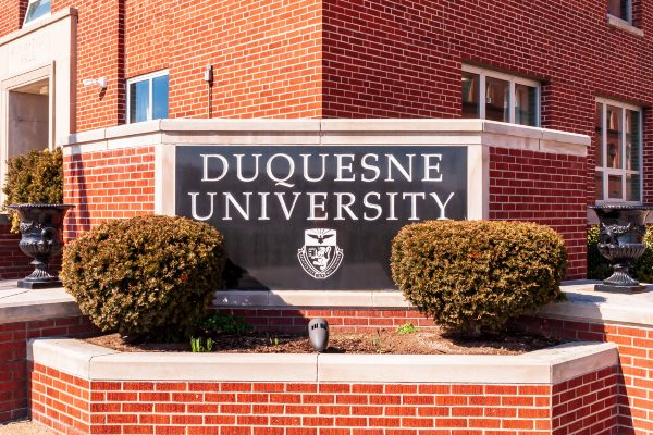 Duquesne University sign on campus.