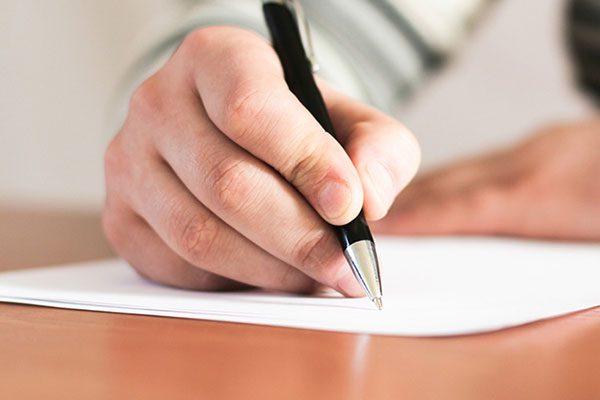 Man hands writing
