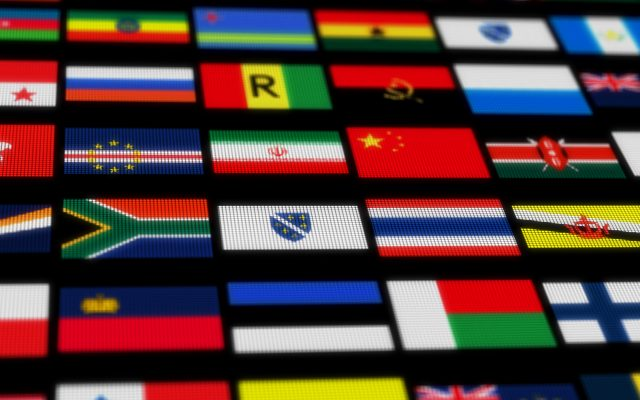A black background with the flags of various countries on it.
