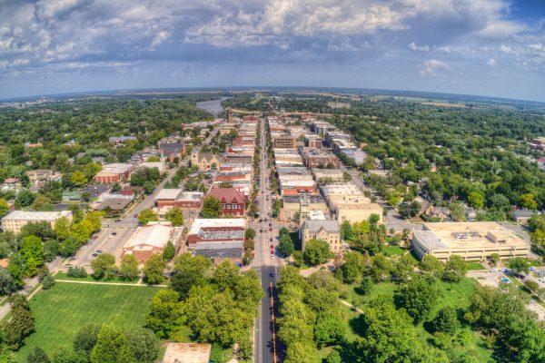 Aerial shot of Lawrence Kansas